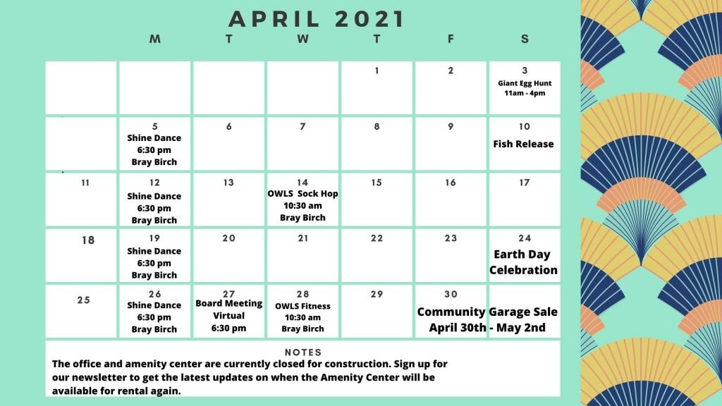 Calendar no pool